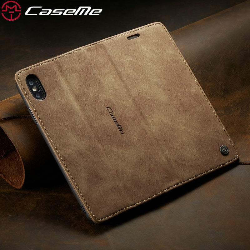 CaseMe Leather Magnetic Credit Card Wallet Case For iPhone 7 | 8 | Plus | X | XS Max | Xr