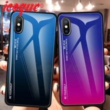 Load image into Gallery viewer, Luxury Glass Silicon Gradient Pattern Case for iPhone 7 | 8 | Plus | X | XS Max | XR