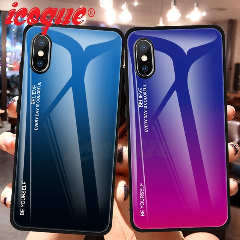 Luxury Glass Silicon Gradient Pattern Case for iPhone 7 | 8 | Plus | X | XS Max | XR