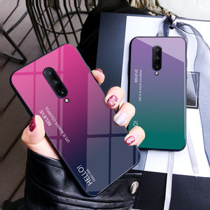 Luxury MUCHI Tempered Glass Gradient Soft Case Cover For ONEPLUS 7 Pro, 7