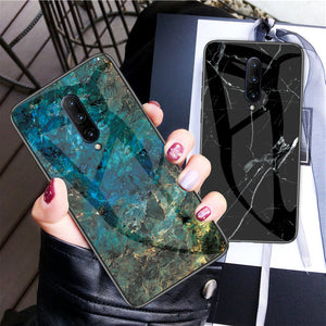 Luxury Marble Finish Tempered Glass Silicone Frame Case Cover for ONEPLUS 7 Pro, 7