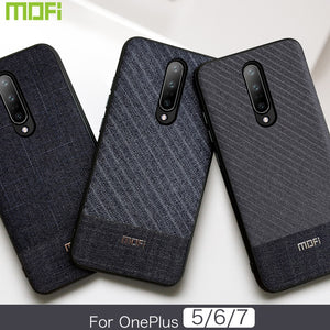 MOFI Cloth Fabric Gentleman Series Hard Case Cover for ONEPLUS 7 Pro, 7, 6T, 6