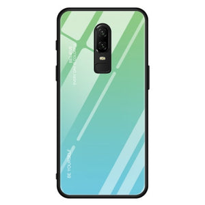 Gradient Glass Case with Silicone Hard Frame Back Cover for Oneplus 7 Pro, 7, 6, 6T