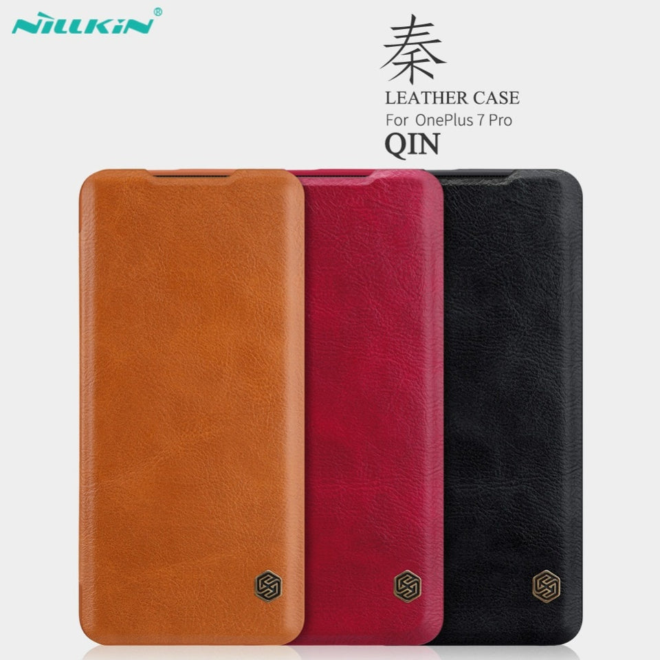 NILLKIN QIN Series Vintage Leather Flip Wallet Case Cover for Oneplus 7 Pro, 7