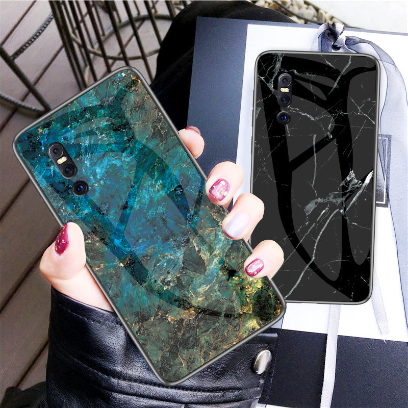 Luxury Marble Grain Hard Tempered Glass Back Case Cover for Vivo V15 & V15 Pro