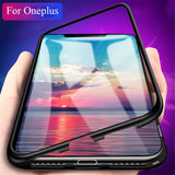 OnePlus 6, 6T, 7, 7Pro Metal Frame Magnetic Flip Glass Back Case & Cover