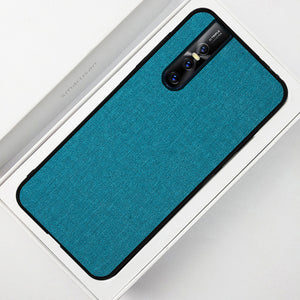 Fabric Pattern Luxury Skin Silicone Edge Case Cover for Vivo V15 Pro