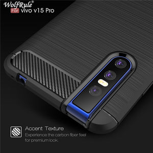 Premium Carbon Fibre Bumper Silicone Rubber Case Cover for Vivo V15 Pro