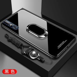 Magnetic Ring Holder Luxury Hard Tempered Glass Case Cover for Vivo V15 & V15 Pro