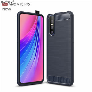 Capas Anti Knock Brushed Rugged Silicone Case Cover for Vivo V15 Pro