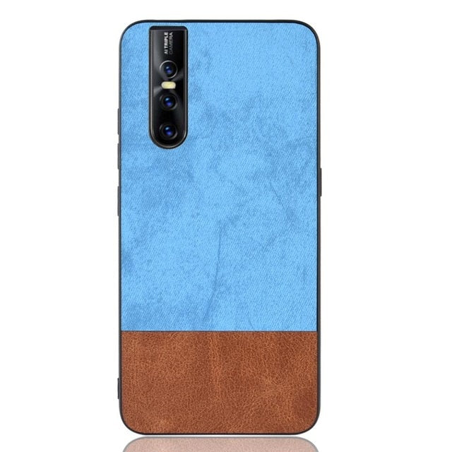 Fashion Splice Double Color Hybrid Leather Slim Case Cover for Vivo V15 Pro