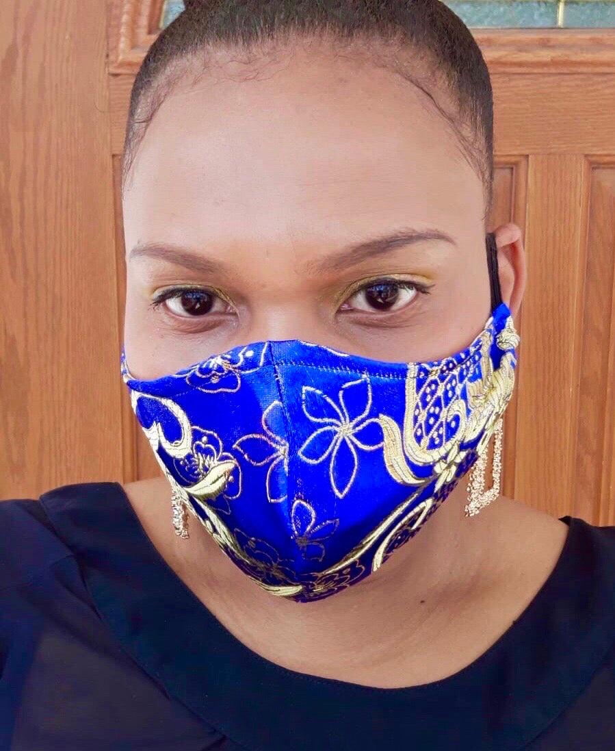 Blue and Gold Floral Mask