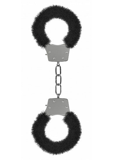 Ouch Pleasure Cuffs-Black Furry