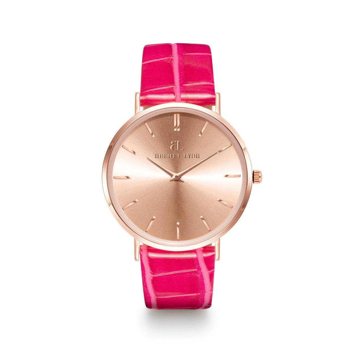 Montre Stellar 40 Croco (Rose Fuchsia/Rose Gold)