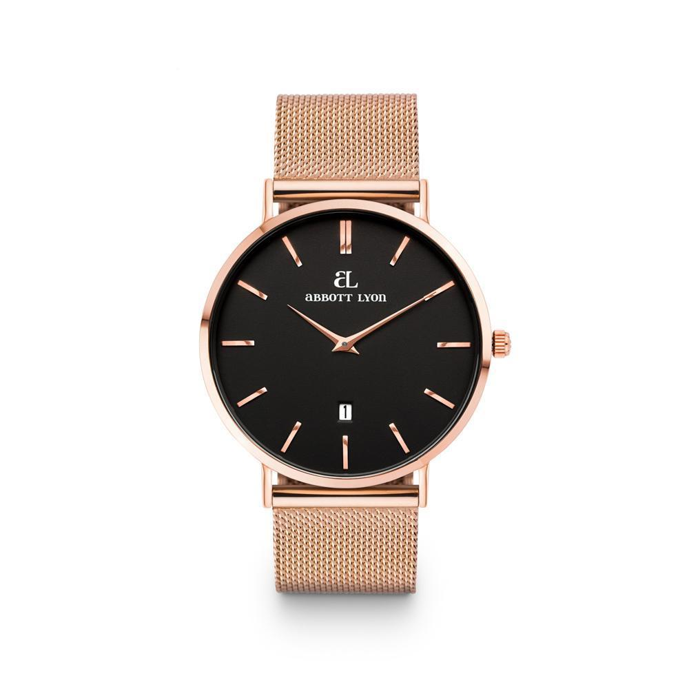 Montre Kensington 40 Bracelet Maille Rose Gold (Noir/Rose Gold)