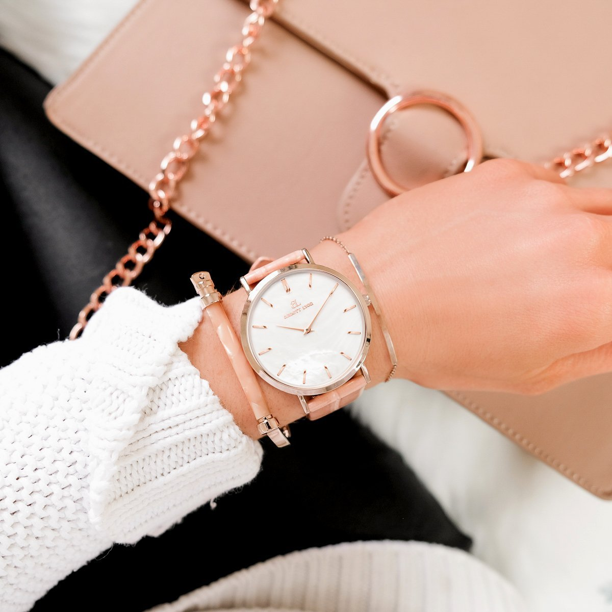 Bracelet 40 Cuir Croco (Pêche Blanche/Rose Gold)