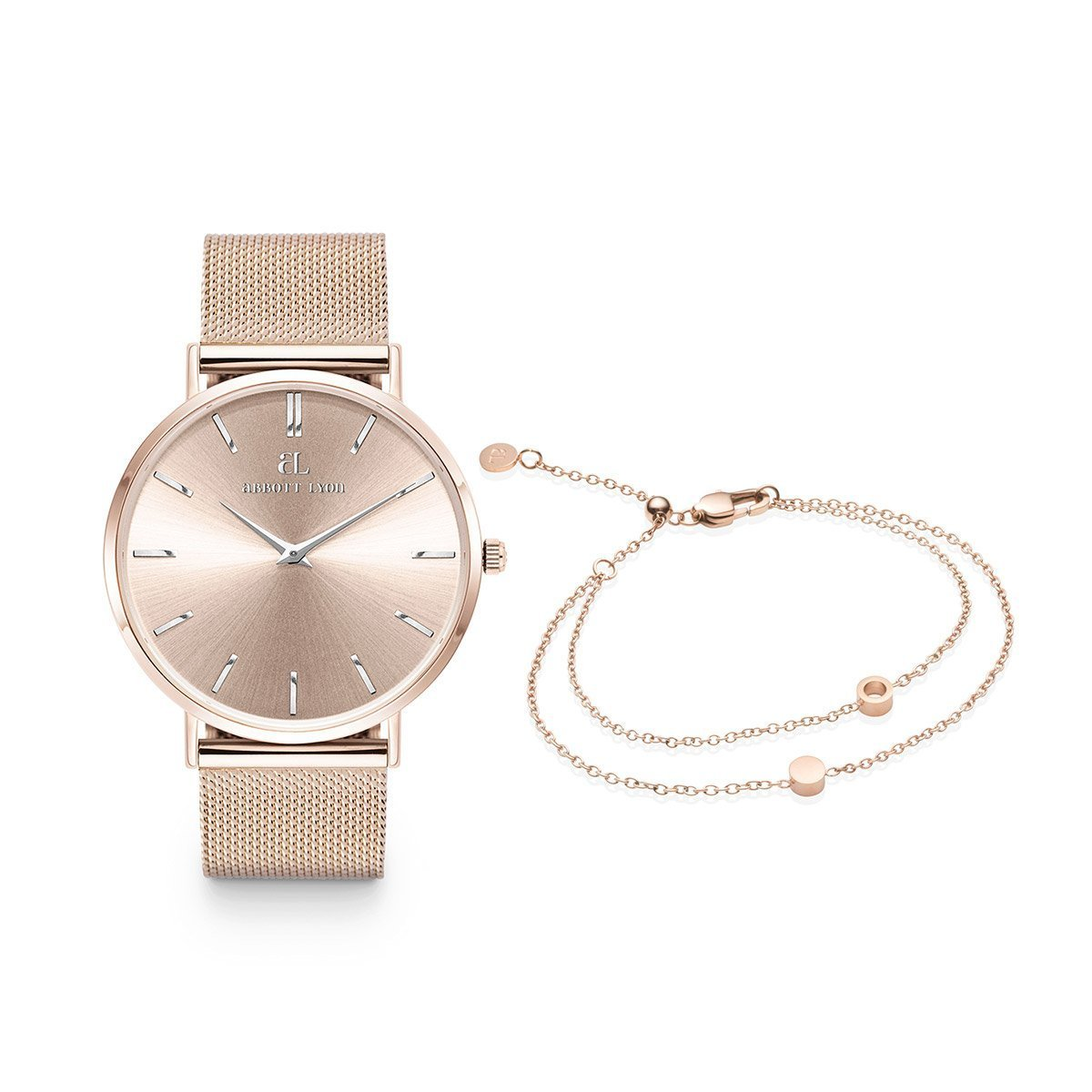 Coffret Montre Stellar et Bracelet Double Disc 40 Little Luxe (Rose Poudré/Rose)
