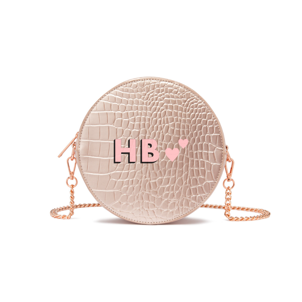 Sac Bandoulière Nina (Rose Poudré Brillant/Rose Gold)