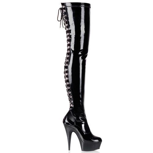 Pleaser-Platforms-(Exotic-Dancing)-DELIGHT-3063-Blk-Str-Pat-and-Blk