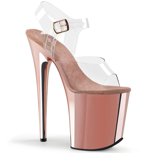 Pleaser-Platforms-(Exotic-Dancing)-FLAMINGO-808-Clr-and-Rose-Gold-Chrome