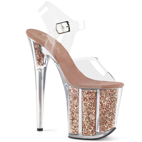 Pleaser-Platforms-(Exotic-Dancing)-FLAMINGO-808G-Clr-and-Rose-Gold-Glitter