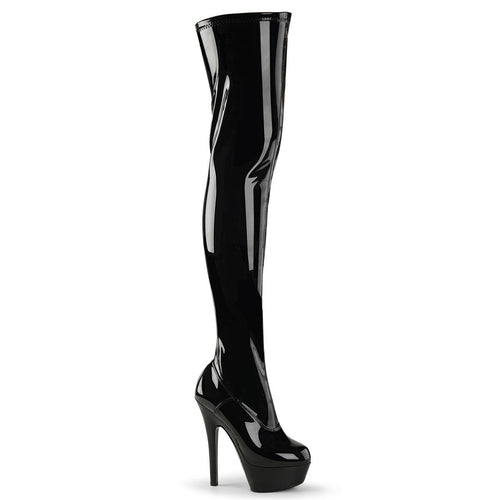 Pleaser-Platforms-(Exotic-Dancing)-KISS-3000-Blk-Str-Pat-and-Blk