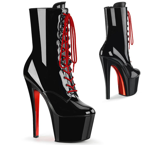 Pleaser Platforms (Exotic Dancing) SKY 1020TT Black Pat and Black Red Chrome