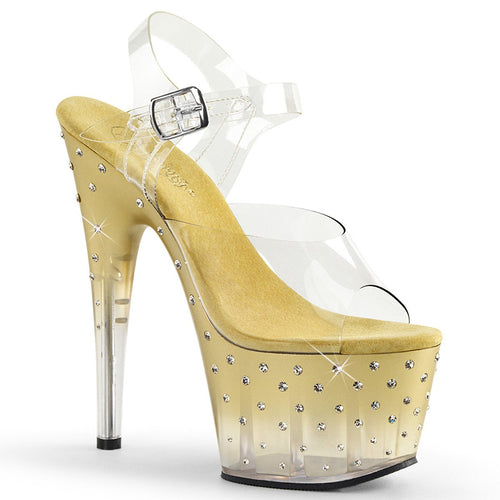 STARDUST-708T Pleaser Exotic Dancing Shoes with Ankle Straps STDUS708T/C/G-C