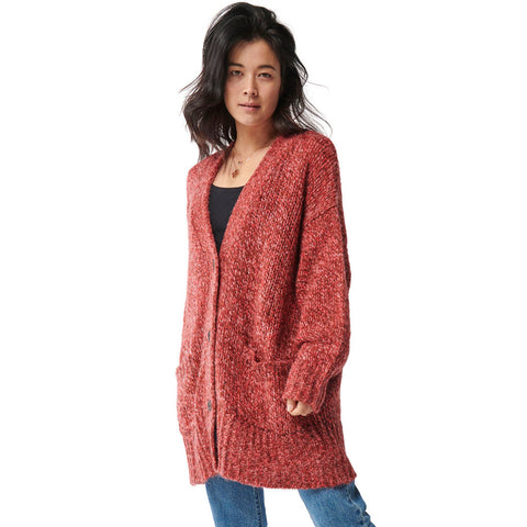 Cherry Ripe Melange Oversized Knitted Long Cardigan