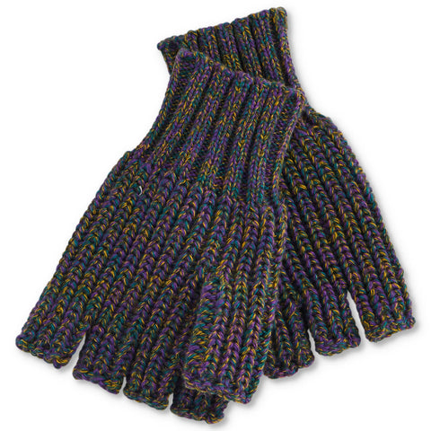 Military Speckles Rib Knitted Fingerless Mittens
