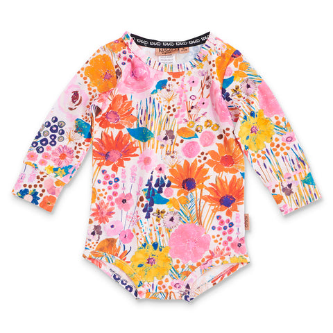 Pinky Field Of Dreams Organic Ls Romper