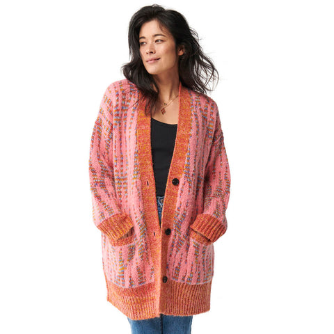 Pinky Star Oversized Knitted Long Cardigan