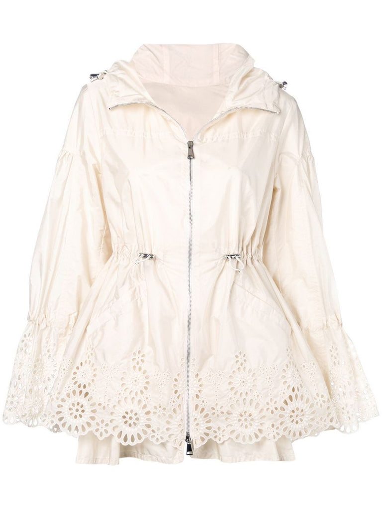 Moncler Cream Hooded Zip Up Raincoat