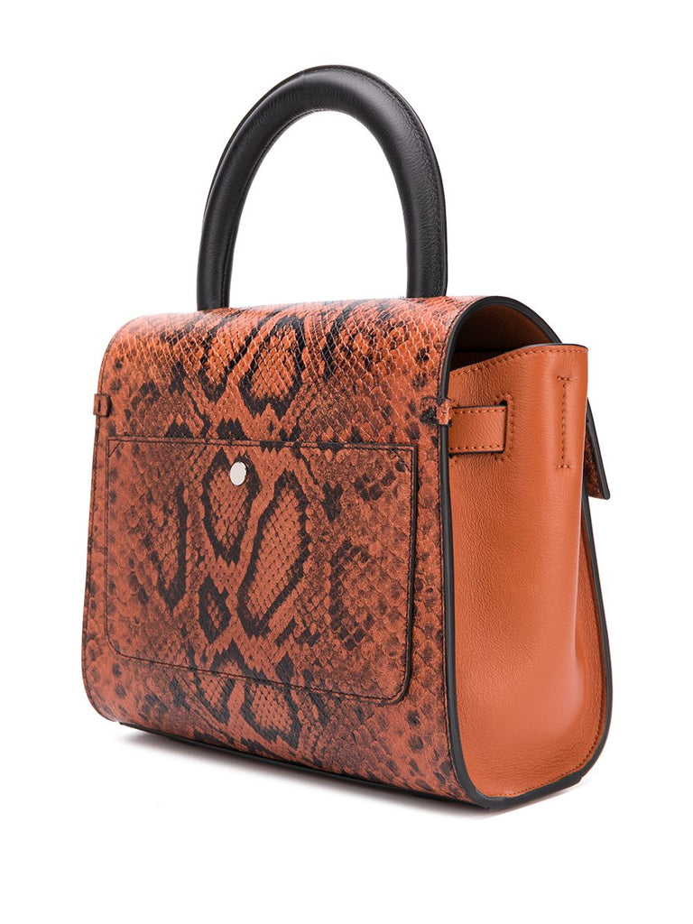 Elena Ghisellini Orange Snake Tote Bag 2