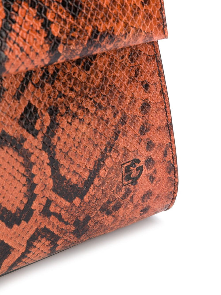Elena Ghisellini Orange Snake Tote Bag 3