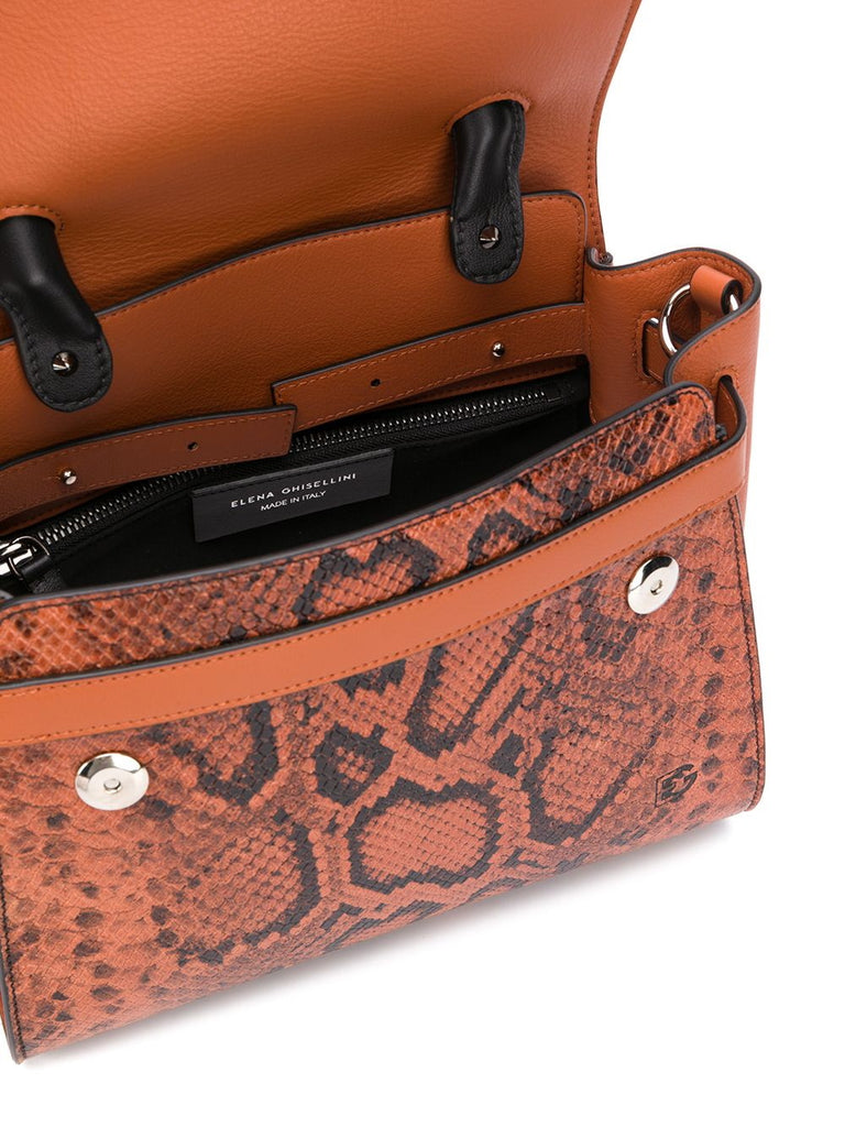 Elena Ghisellini Orange Snake Tote Bag 4