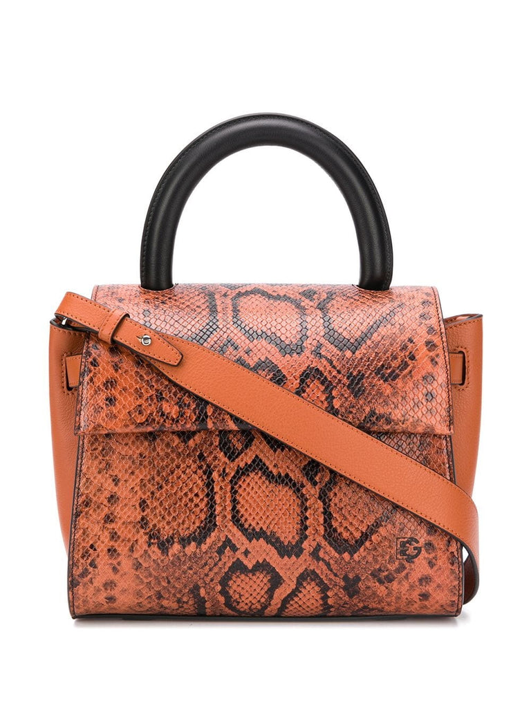 Elena Ghisellini Orange Snake Tote Bag