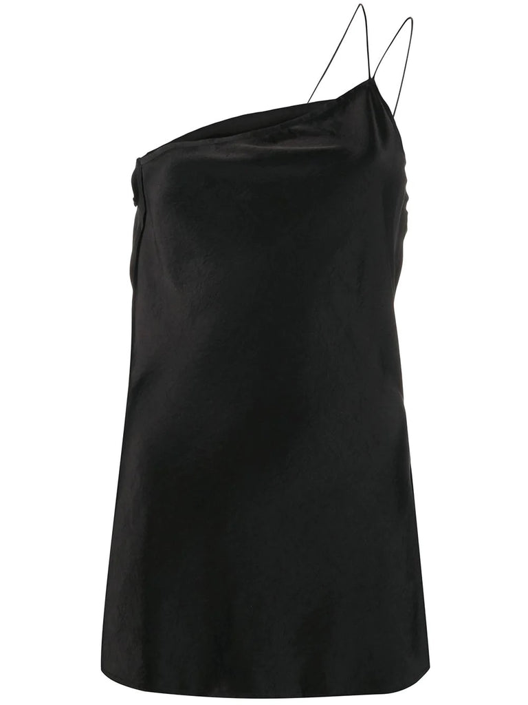 Erika Cavallini Black Silk One Shoulder Slip Top