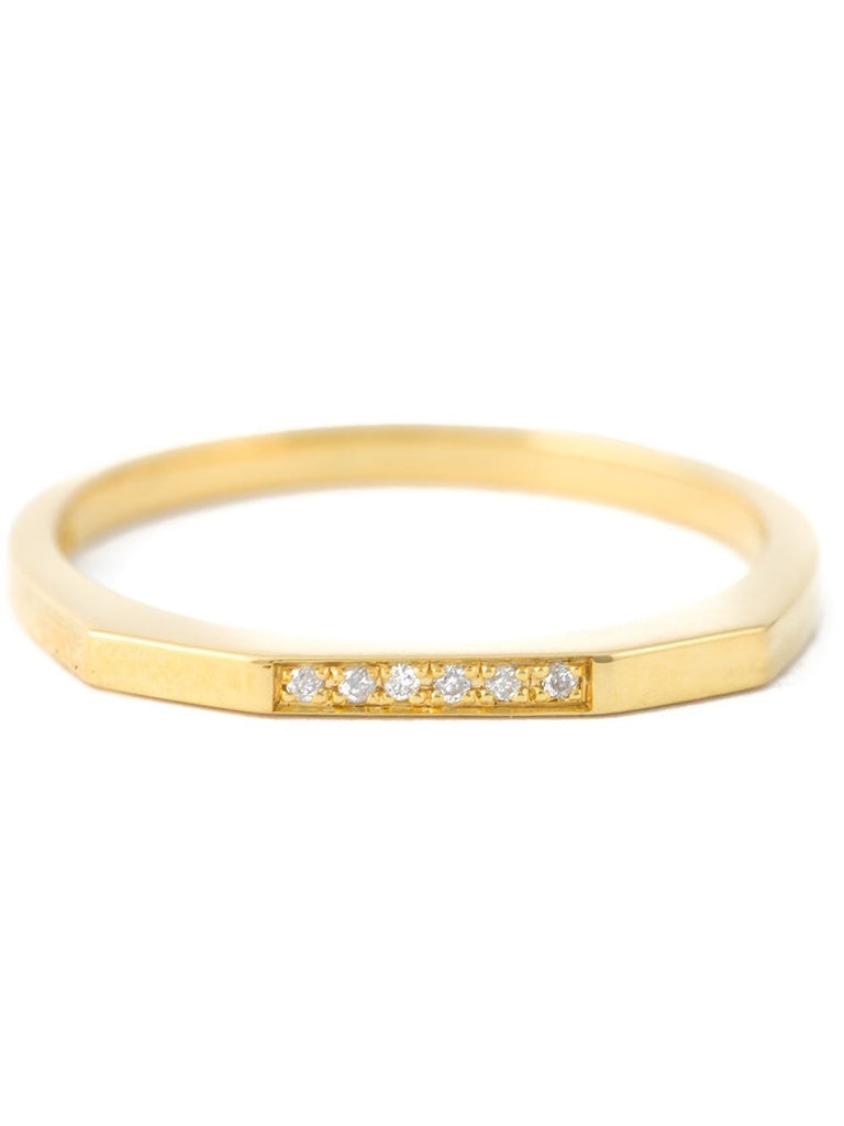 Maria Black Gold Diamond Bar Thin Ring
