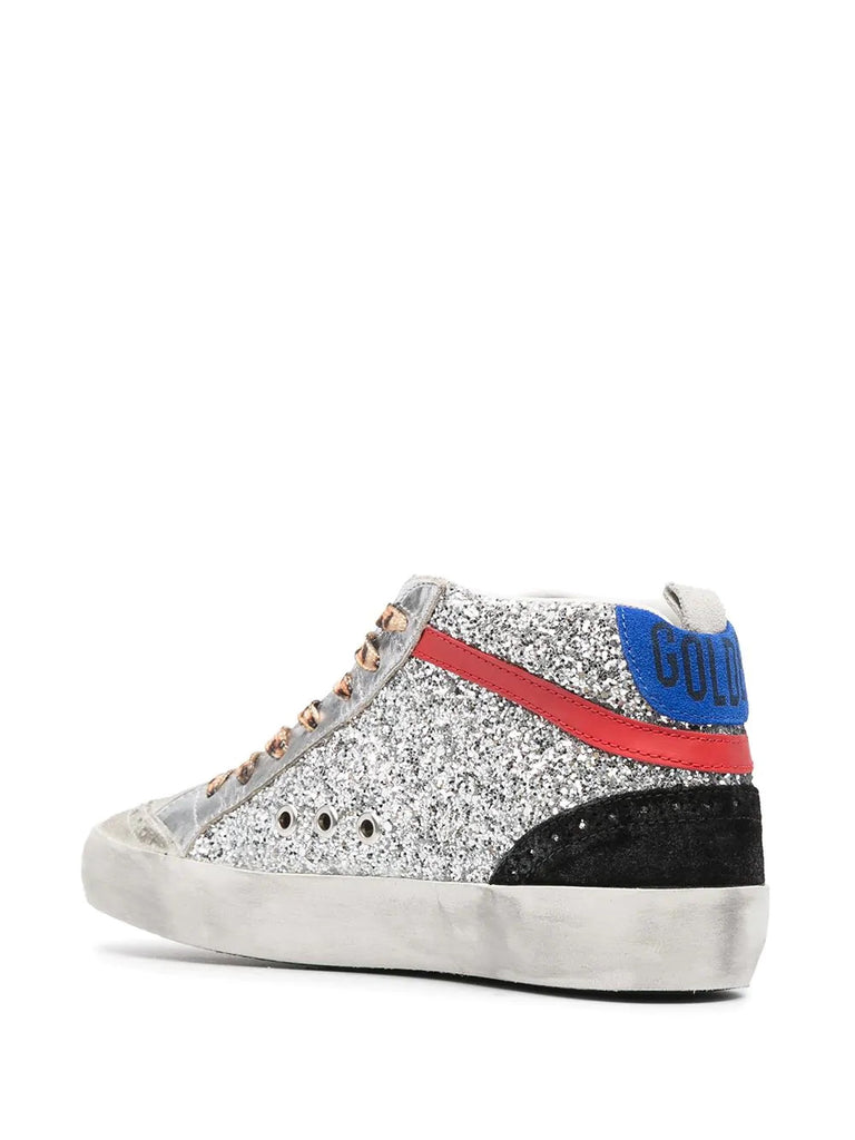 'Glitter Leopard Lace High Top Sneakers'