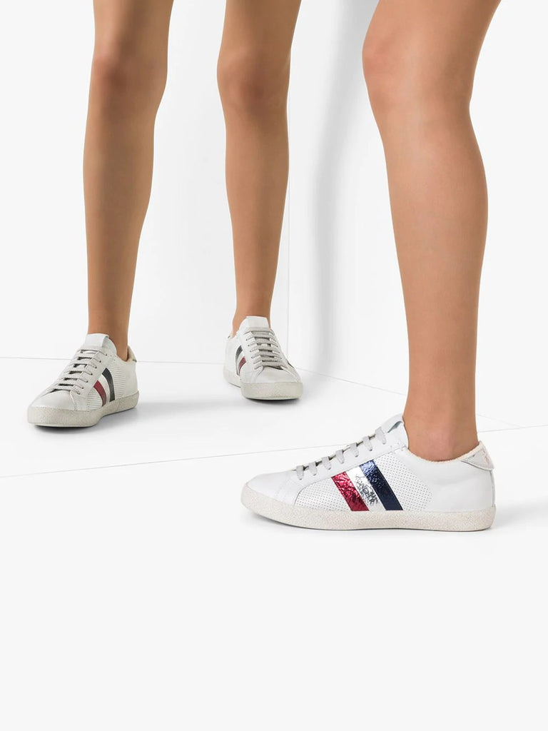 Moncler White Logo Stripe Trainers 1
