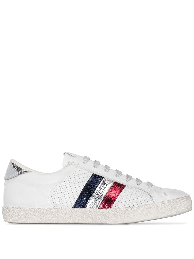 Moncler White Logo Stripe Trainers
