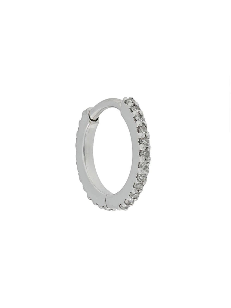 Maria Black Silver Diamond Detailed Hoop Earring