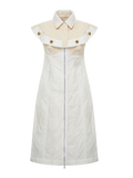 Moncler White Zip Up Collared Dress