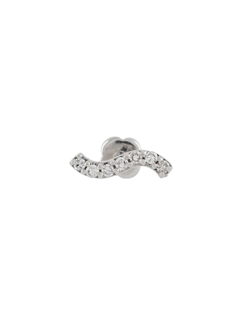 Maria Black Silver Diamond Wave Stud Earring