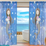Colorful Printed Unicorn Long Sheer Curtain Panels On Sale