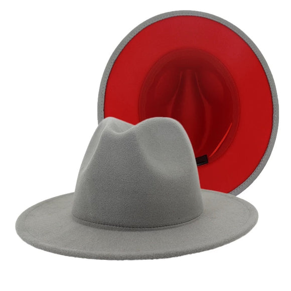 Gray and Red Fedora