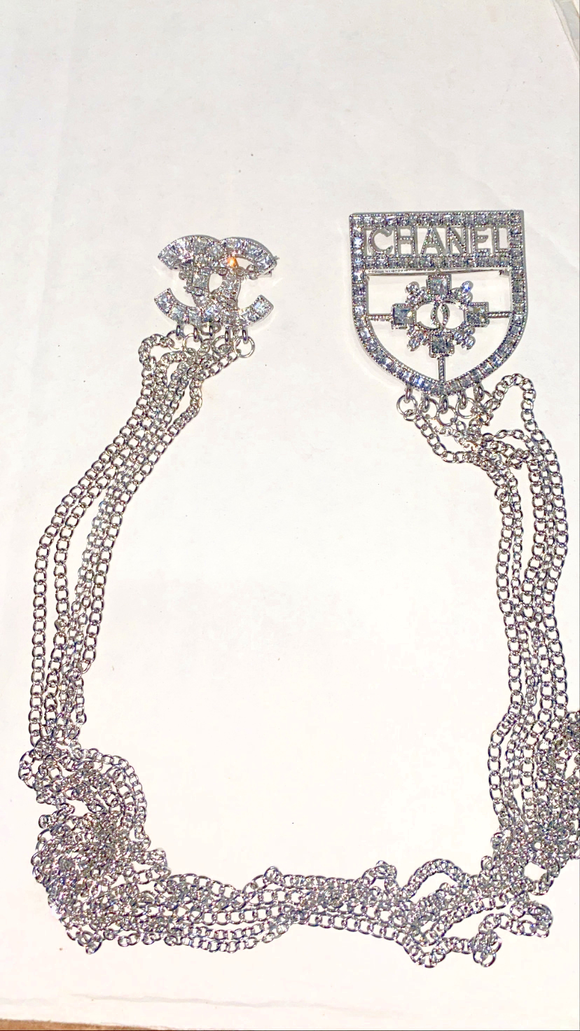 Silver Double Trouble Chain Brooch