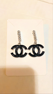 Diamond Silver and Black Drop Earrings