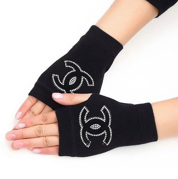 Semi Rhinestone Finger less Gloves